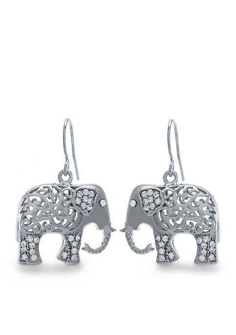 Belk Silverworks Silver-Tone Filligree Elephant Drop Earrings