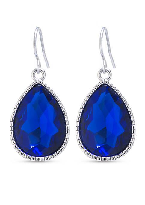 Belk Silverworks Fine Silver Plated Blue Crystal Teardrop