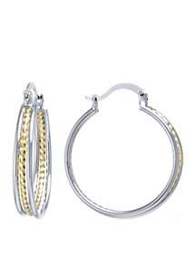 Diamond Cut Triple Hoop Two-Tone Earrings
