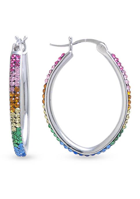 Belk Silverworks Silver-Plated Crystal Hoop Earrings