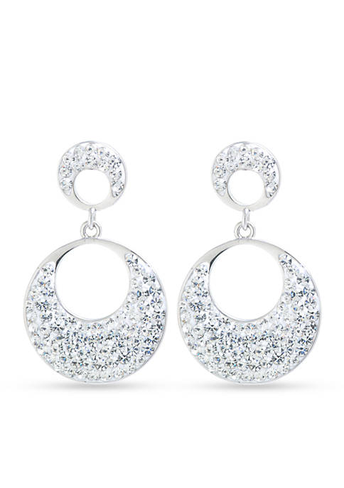Belk Silverworks Silver-Plated Crystal Double Drop Earrings