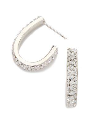 Belk Silverworks Women 19.5 Millimeter Fine Silver Plated Crystal Pave J Hoop Earrings