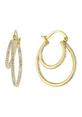 Belk Silverworks Women Yellow Gold Fine Silver Plated Clear Crystal 2 Row Hoop Earrings