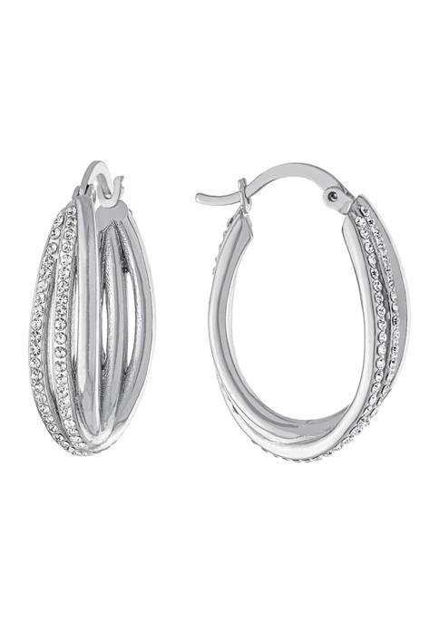 Belk Silverworks Fine Silver Plated Crystal Twist Hoops