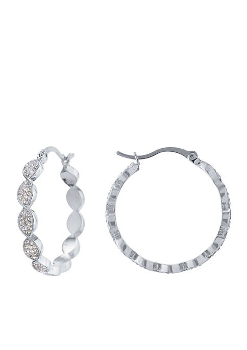 Belk Silverworks Silver-Tone Twist Hoop Earrings