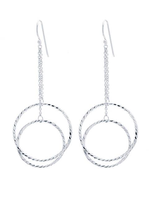 Belk Silverworks Double Circle Drop Earrings