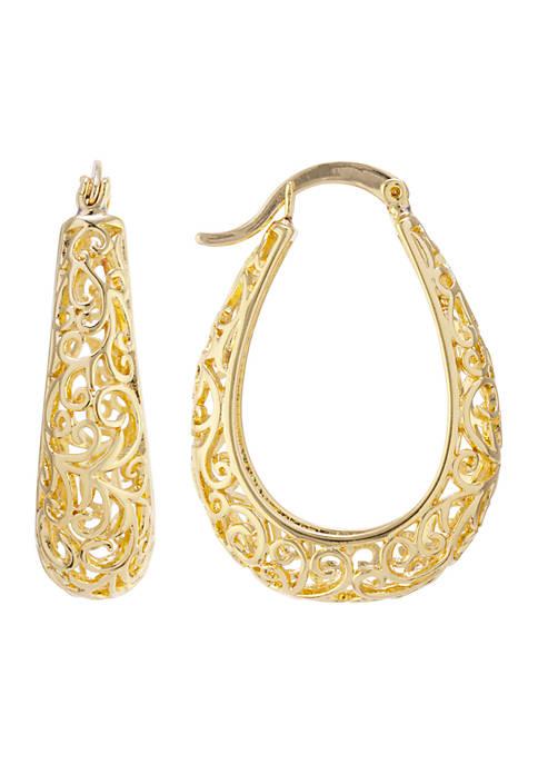 Gold 30 MM Filigree Hoop Earrings