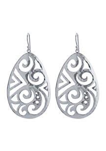 Silver-Tone Artisan Filigree Drop Earrings