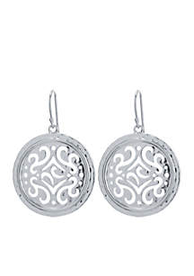 Silver-Tone Filigree Artisan Drop Earrings