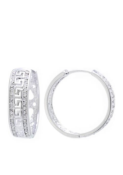 Belk Silverworks Fine Silver-Plated Crystal Edge Greek Key