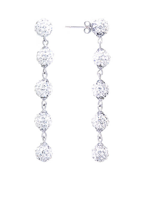 Belk Silverworks Fine Silver-Plated Crystal Ball Drop Earrings
