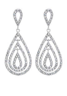 Fine Silver Plated Crystal Pave Fancy Triple Teardrop Earrings