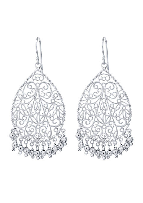 Belk Silverworks Silver-Tone Large Filigree Beaded Teardrop