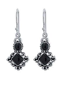 Silver-Tone Onyx Circle And Diamond Shape Drop Earrings