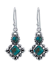 Silver-Tone Turquoise Circle and Diamond Drop Earrings
