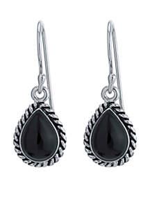 Silver-Tone Onyx Teardrop Braided Edge Earrings