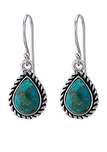 Silver-Tone Turquoise Teardrop Braided Edge Drop Earrings