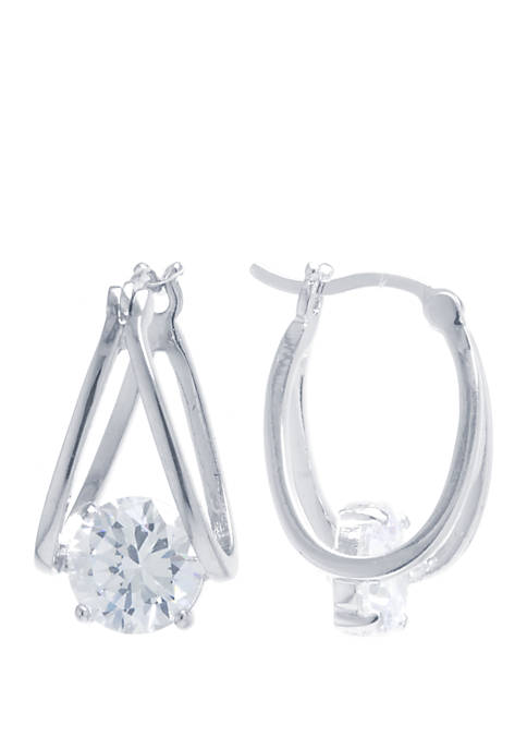 Silver Tone Cubic Zirconia Split Hoop Earrings