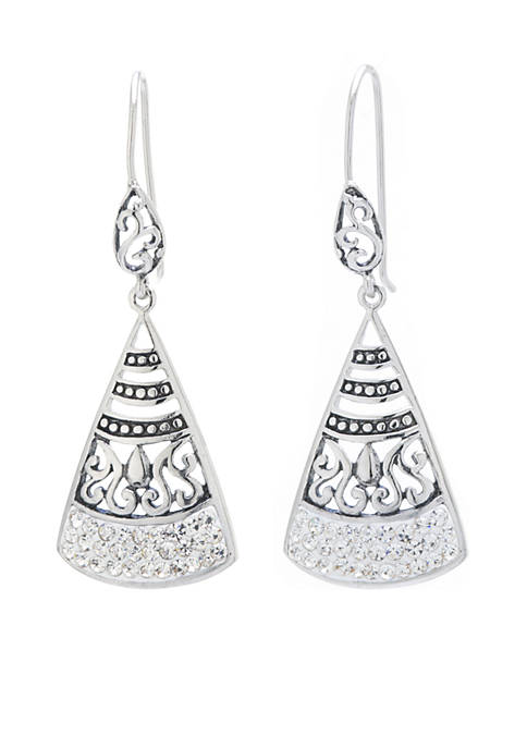 Belk Silverworks Fine Silver Plated Crystal Pave Triangle