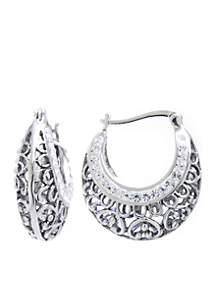 Fine Silver Plated Crystal Pave Bali Click Top Hoop Earrings