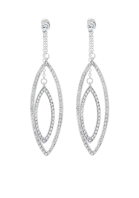 Belk Silverworks Fine Silver-Plated Crystal Pave Marquis Drop