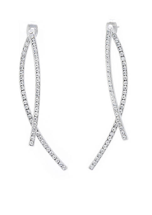 Belk Silverworks Fine Silver Plated Crystal Pave Linear