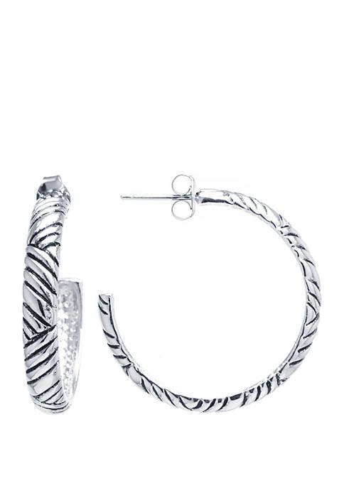 Belk Silverworks Fine Silver-Plated Bali-Inspired Post Hoop