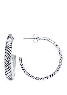 Fine Silver-Plated Bali-Inspired Post Hoop Earrings