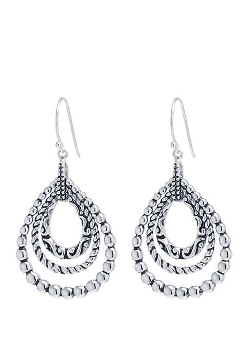 Belk Silverworks Fine Silver-Plated Bali-Inspired Teardrop Earrings