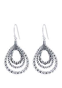 Fine Silver-Plated Bali-Inspired Teardrop Earrings