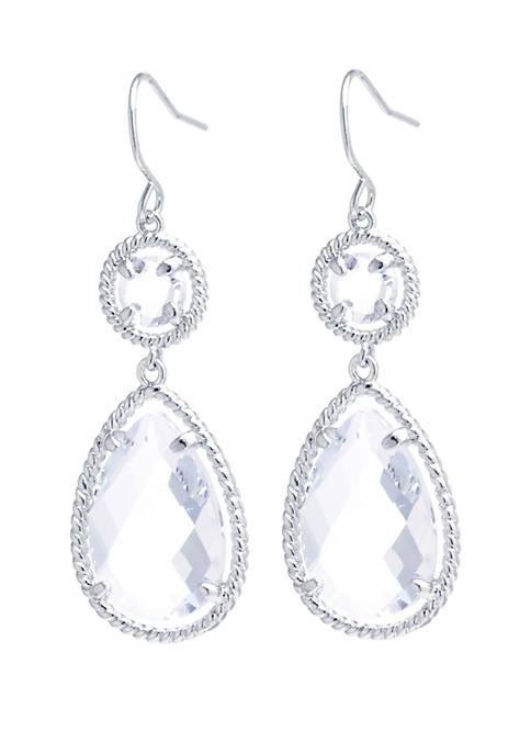 Fine Silver-Plated Crystal Faceted Double Teardrop Earrings