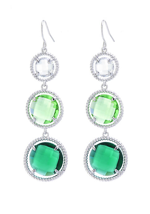 Fine Silver-Plated Ombre Graduated Crystal Earrings