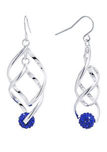Belk Silverworks Fine Silver Plated Double Spiral Teardrop Crystal Pave Ball Earrings