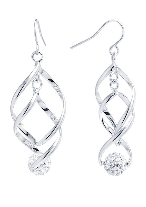Fine Silver Plated Double Spiral Teardrop Crystal Pave Ball Earrings