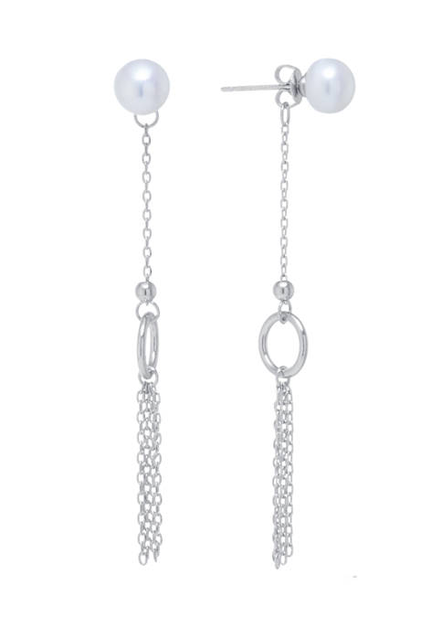 Fine Silver Plated Freshwater Pearl Front with Chain Drop Earrings