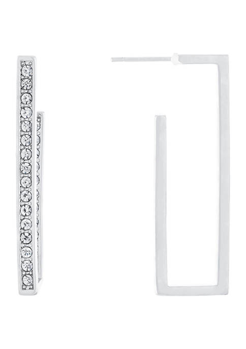 Belk Silverworks Fine Silver Plated Crystal Rectangle Hoops