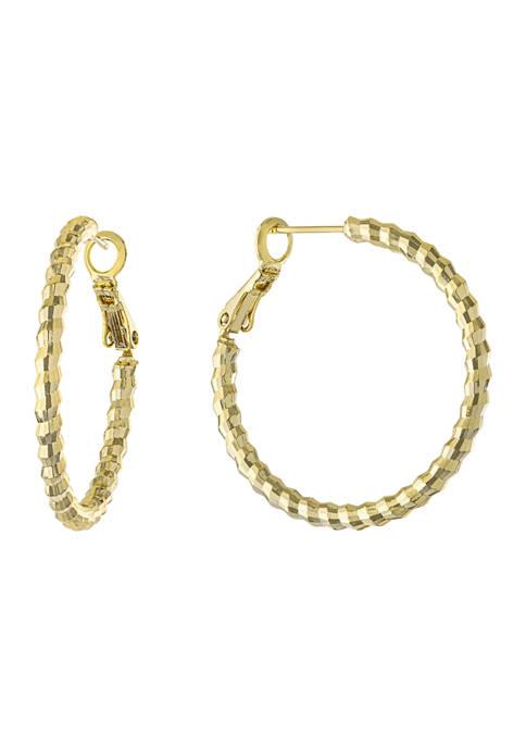 Belk Silverworks 1.33 Inch Diamond Cut Clutchless Hoop