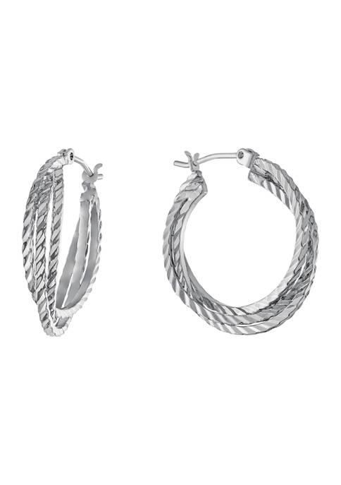 Belk Silverworks 1 Inch Diamond Cut Bypass Hoop