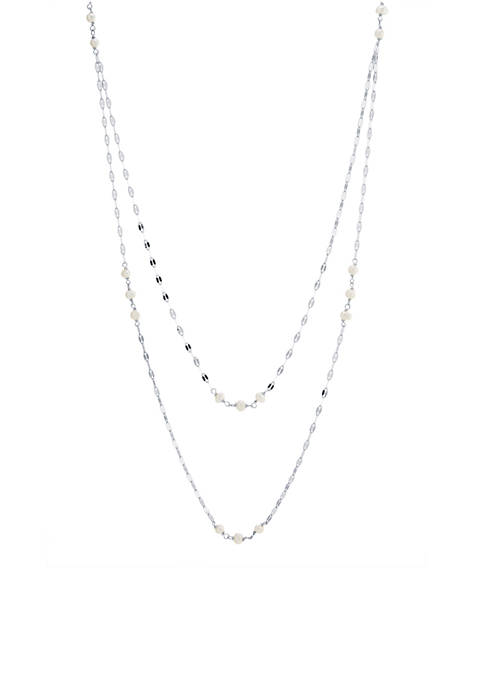 Fine Silver-Plated Multi Fresh Water Pearl Diamond Cut Double Strand Necklace