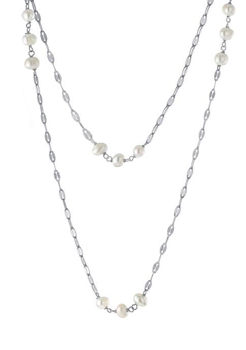 Belk Silverworks Fine Silver Plated 2-Row Freshwater Pearl