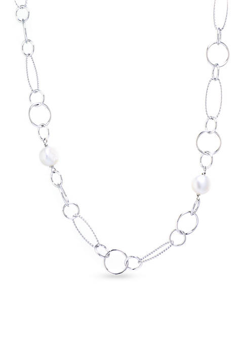 Fine Silver Plated Oval and Multi Circle Water Pearl Necklace