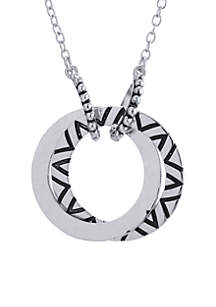 Fine Silver Plated Double Open Circle Artisan Hammered Necklace