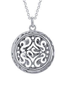 Fine Silver Plated High Polished Round Artisan Hammered Pendant Necklace