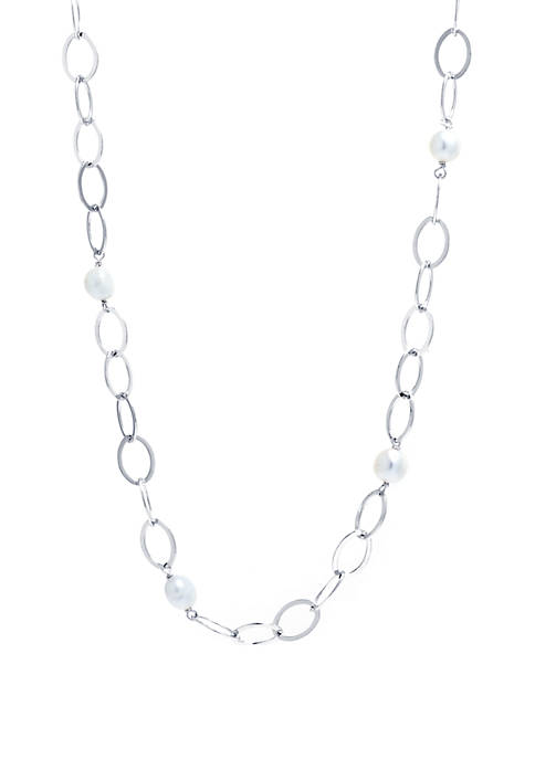Fine Silver Plated Marquise Freshwater Pearl Link Necklace