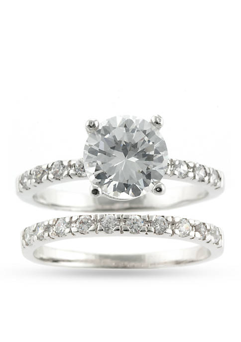 Silver Tone Cubic Zirconia Wedding Ring Set