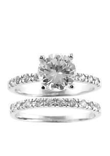 Fine Silver Plated Cubic Zirconia Princess Cut Wedding Ring Set