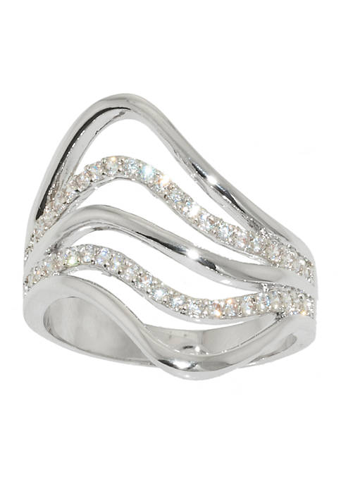 Fine Silver Plate Five Row Cubic Zirconia Swirl Ring