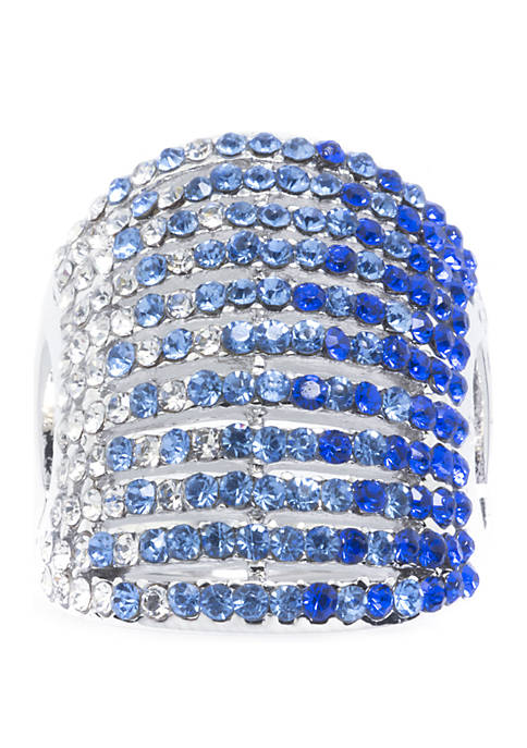 Silver-Plated Pave Crystal Multi-Row Ring