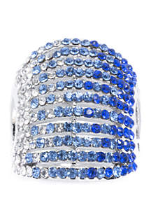 Belk Silverworks Silver-Plated Pave Crystal Multi-Row Ring