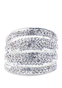 Belk Silverworks Silver-Plated Pave Wide 4-Row Ring